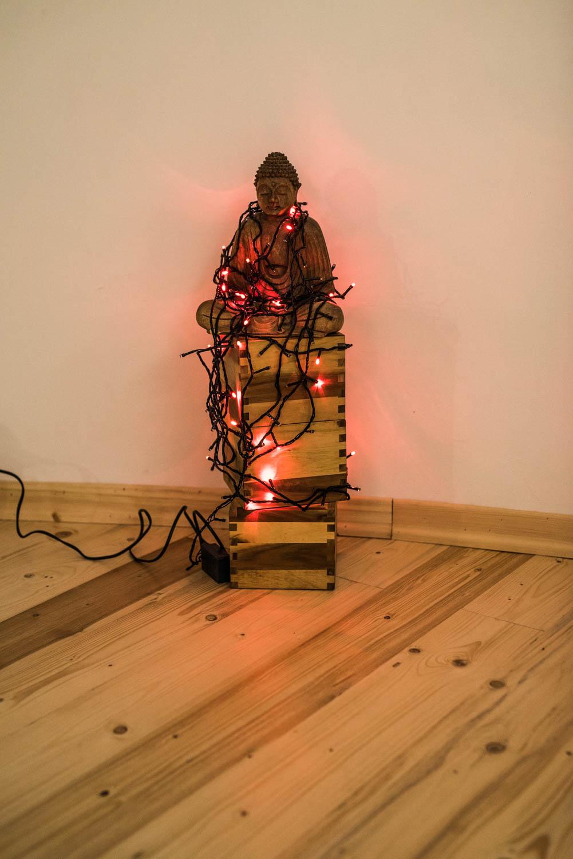 Il Buddha illuminato a festa